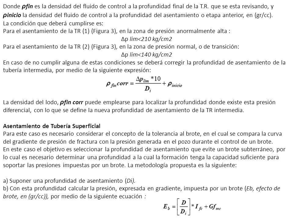 Donde ρ fin es la densidad del fluido de control a la profundidad final de la T.R. que se esta revisando, y ρ inicio la densidad del fluido de control