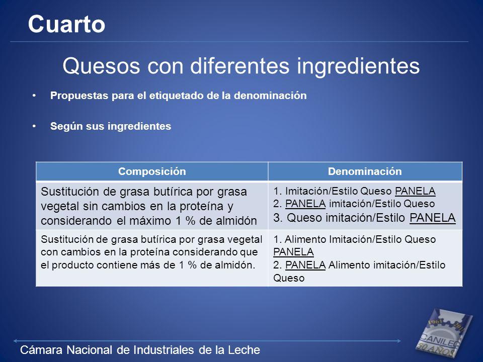 Cámara Nacional de Industriales de la Leche Cuarto Quesos con diferentes ingredientes Propuestas para el etiquetado de la denominación Según sus ingre