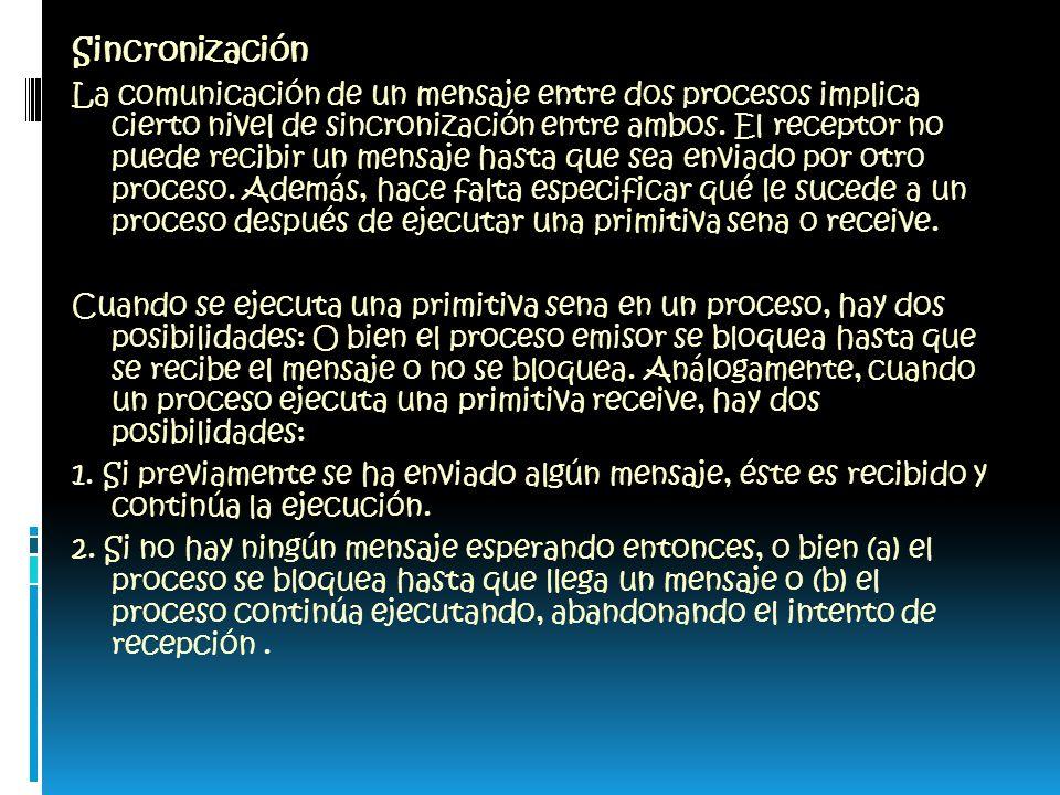 Sincronización La comunicación de un mensaje entre dos procesos implica cierto nivel de sincronización entre ambos.