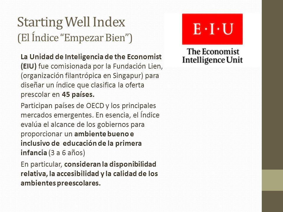 Starting Well Index (El Índice Empezar Bien) La Unidad de Inteligencia de the Economist (EIU) fue comisionada por la Fundación Lien, (organización fil