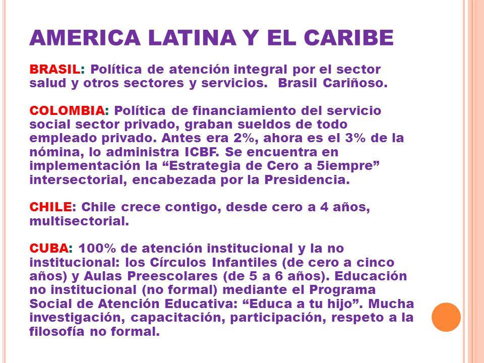AMERICA LATINA Y EL CARIBE BRASIL: Política de atención integral por el sector salud y otros sectores y servicios. Brasil Cariñoso. COLOMBIA: Política