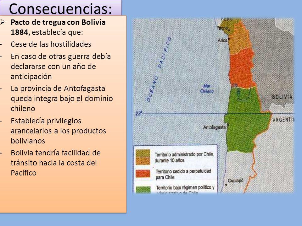 Consecuencias: Pacto de tregua con Bolivia 1884, establecía que: -Cese de las hostilidades -En caso de otras guerra debía declararse con un año de ant