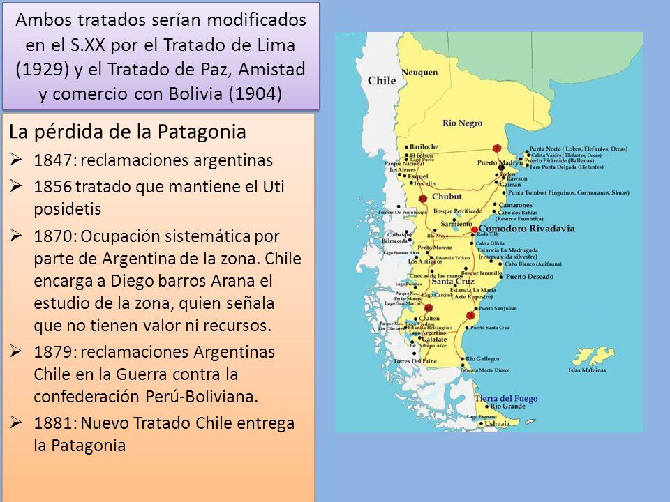 Tratado 1881: -El límite entre Chile y la República Argentina es, de Norte a Sur, hasta el paralelo cincuenta y dos de longitud, la Cordillera de los Andes.