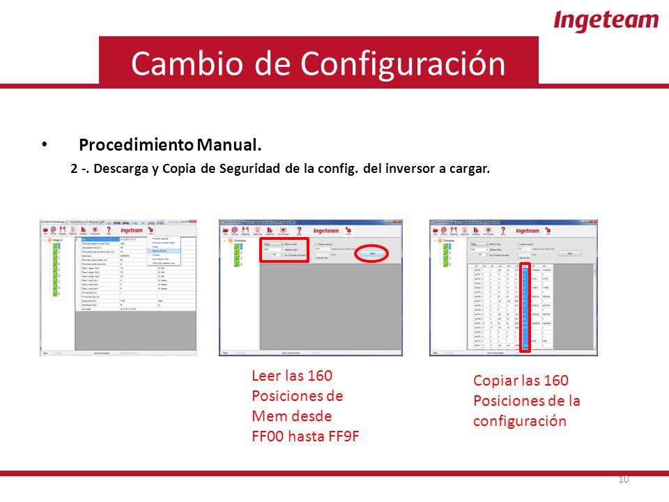 Cambio de Configuración Procedimiento Manual. 2 -.