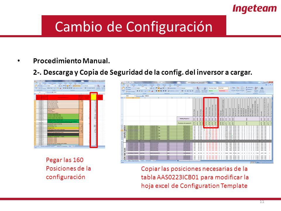 Cambio de Configuración Procedimiento Manual. 2-.