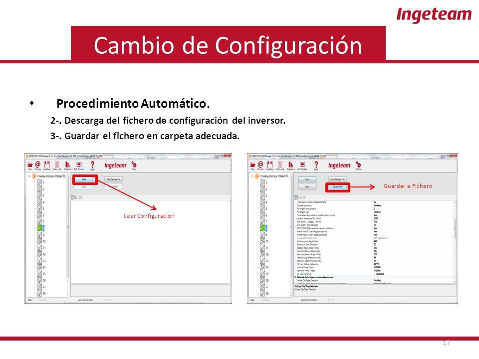 Cambio de Configuración Procedimiento Automático. 2-.
