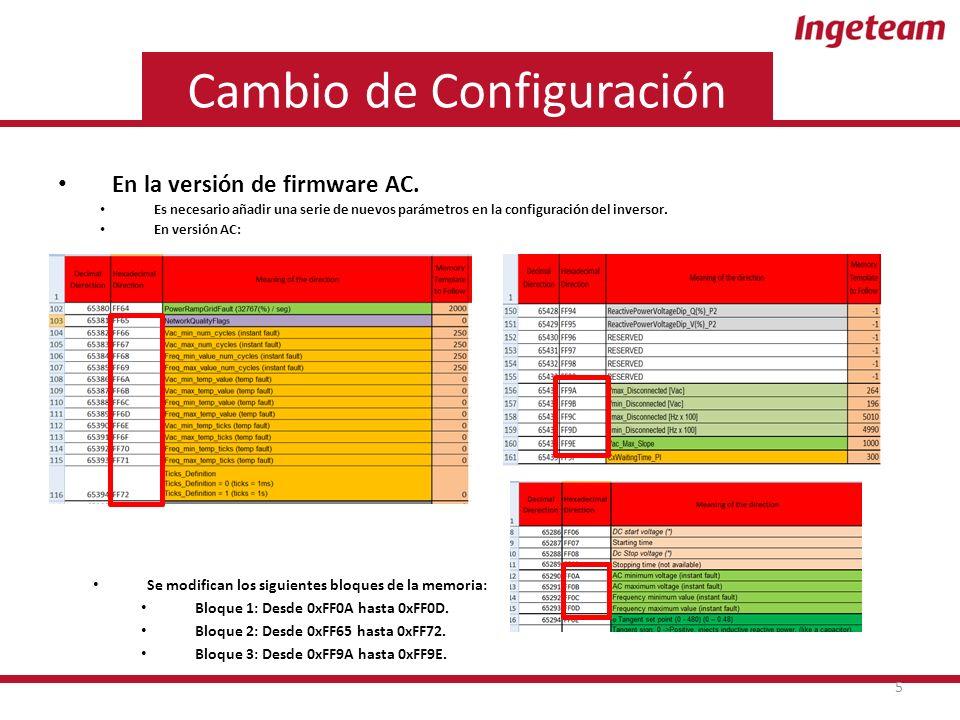 Cambio de Configuración En la versión de firmware AC.