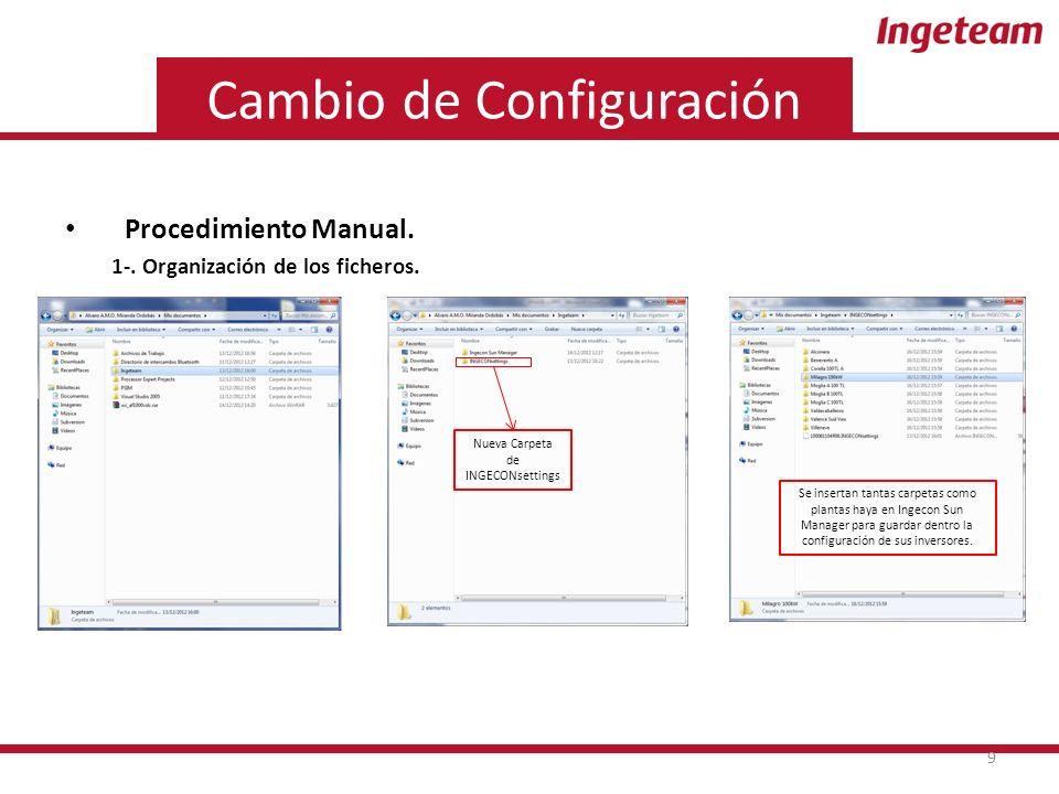 Cambio de Configuración Procedimiento Manual. 1-.