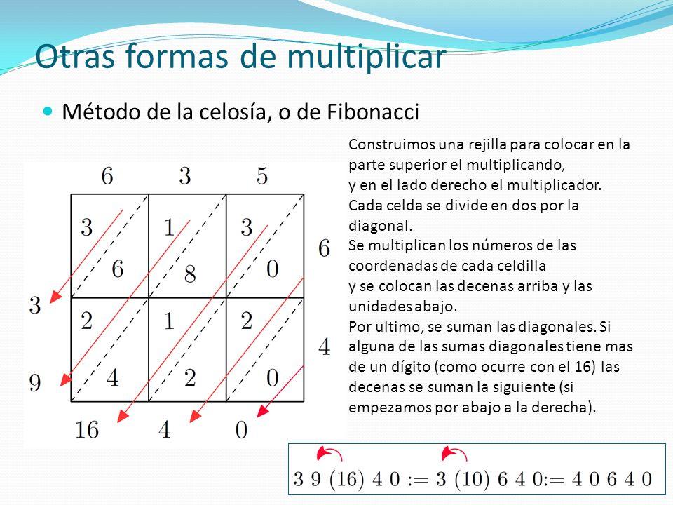 Otras formas de multiplicar Multiplicación egipcia Se hacen dos columnas de números.