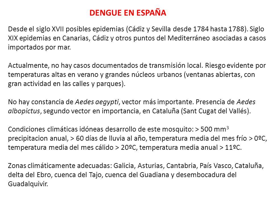 DENGUE EN ESPAÑA Desde el siglo XVII posibles epidemias (Cádiz y Sevilla desde 1784 hasta 1788). Siglo XIX epidemias en Canarias, Cádiz y otros puntos