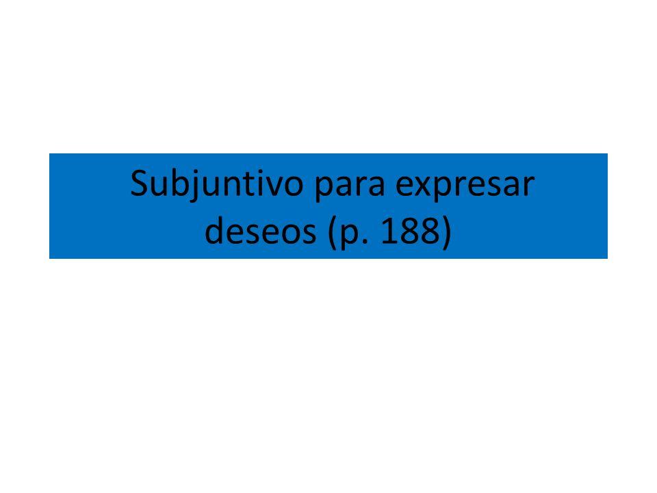 Subjuntivo para expresar deseos (p. 188)