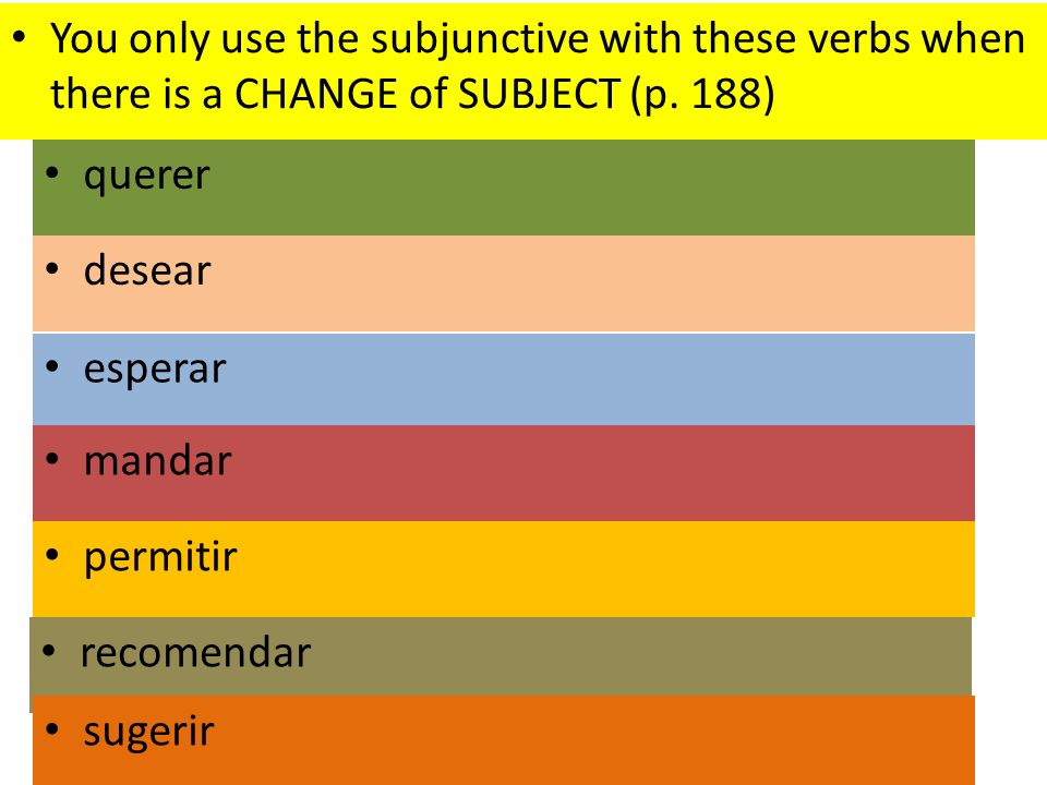 desear esperar mandar querer You only use the subjunctive with these verbs when there is a CHANGE of SUBJECT (p. 188) permitir recomendar sugerir