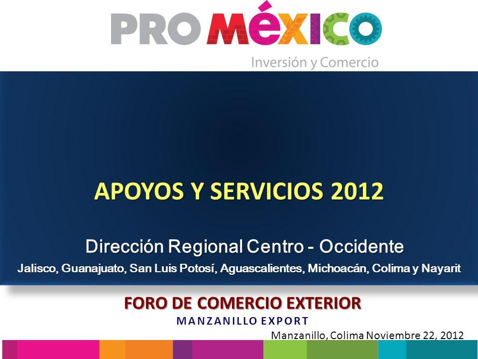 Dirección Regional Centro Occidente Misión ProMéxico ProMéxico es el Organismo del Gobierno Federal encargado de promover el papel de México en la economía internacional; apoyando el proceso exportador de empresas establecidas en nuestro país y coordinando acciones encaminadas a la atracción de inversión extranjera 2 OBJETIVOSOBJETIVOS Promoción de Exportaciones Promoción de Inversiones Internacionalización de la empresas mexicanas
