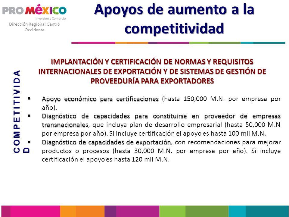 Dirección Regional Centro Occidente Apoyos de aumento a la competitividad IMPLANTACIÓN Y CERTIFICACIÓN DE NORMAS Y REQUISITOS INTERNACIONALES DE EXPOR