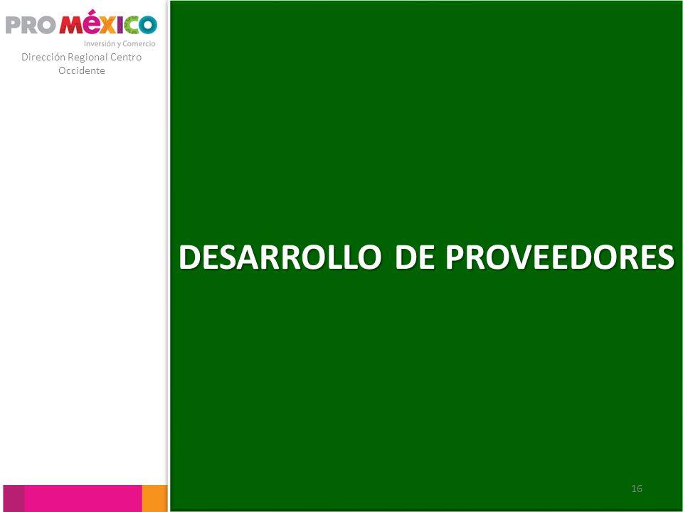 Dirección Regional Centro Occidente DESARROLLO DE PROVEEDORES 16