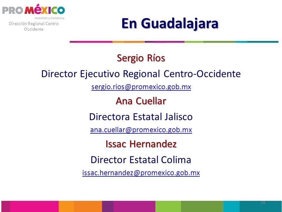 Dirección Regional Centro Occidente En Guadalajara Sergio Ríos Director Ejecutivo Regional Centro-Occidente sergio.rios@promexico.gob.mx Ana Cuellar D