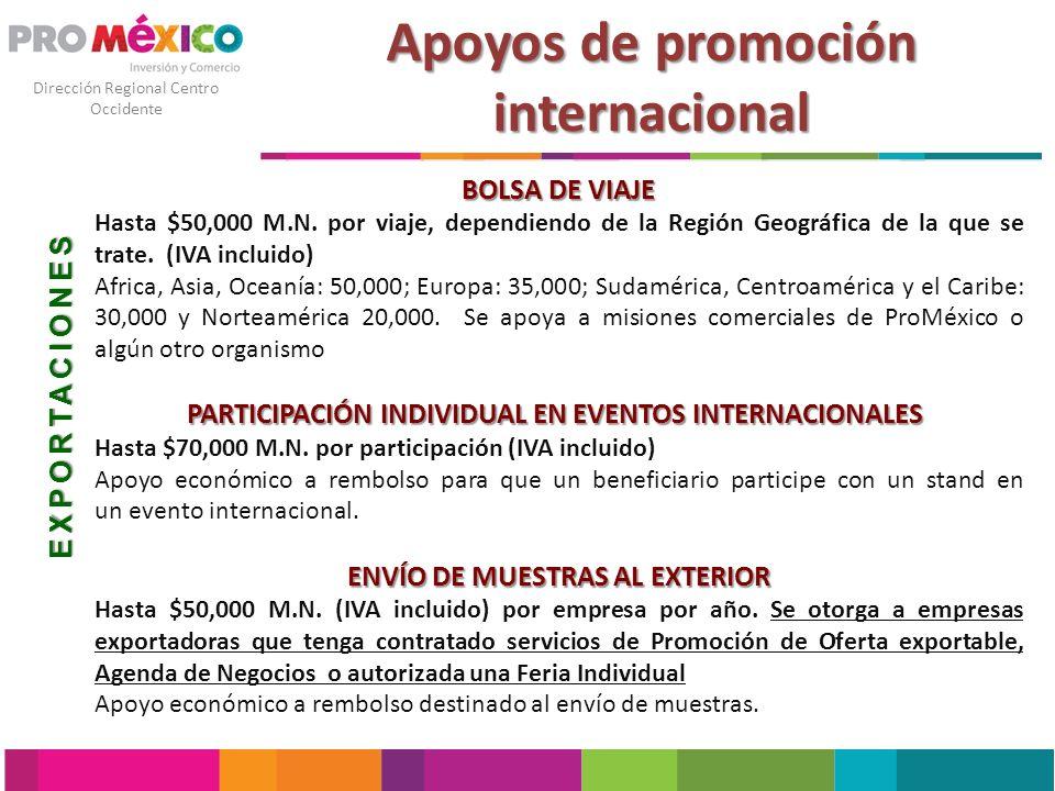 Dirección Regional Centro Occidente Apoyos de promoción internacional DISEÑO DE MATERIAL PROMOCIONAL PARA LA EXPORTACIÓN 50% del costo total sin rebasar $50,000 M.N.