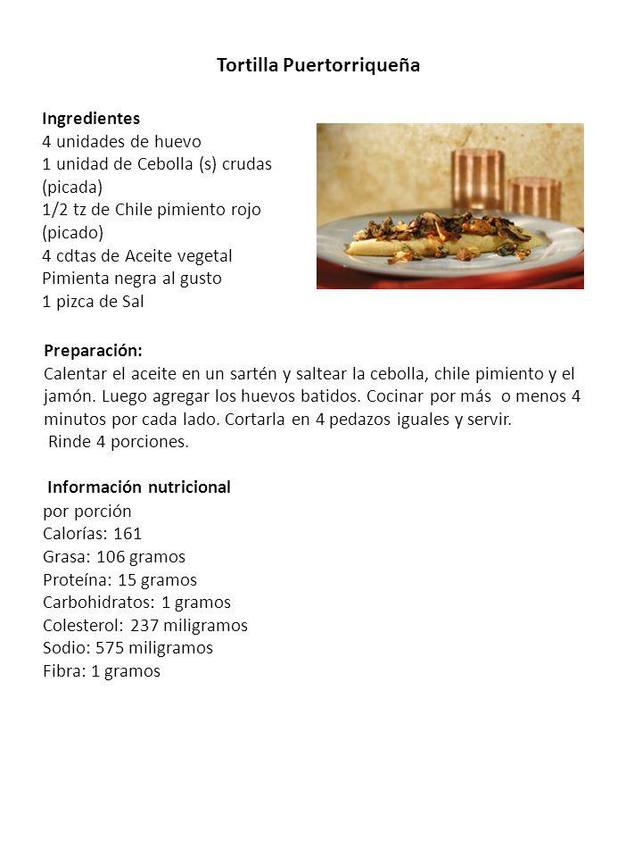 Tortilla Puertorriqueña Preparación: Calentar el aceite en un sartén y saltear la cebolla, chile pimiento y el jamón. Luego agregar los huevos batidos