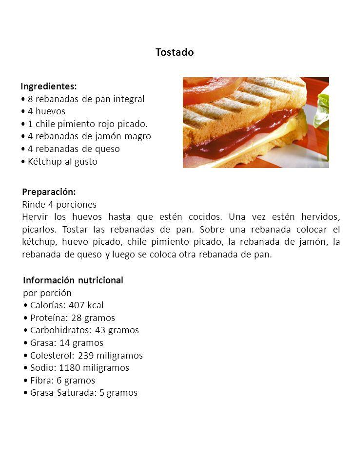 Tostado Ingredientes: 8 rebanadas de pan integral 4 huevos 1 chile pimiento rojo picado. 4 rebanadas de jamón magro 4 rebanadas de queso Kétchup al gu