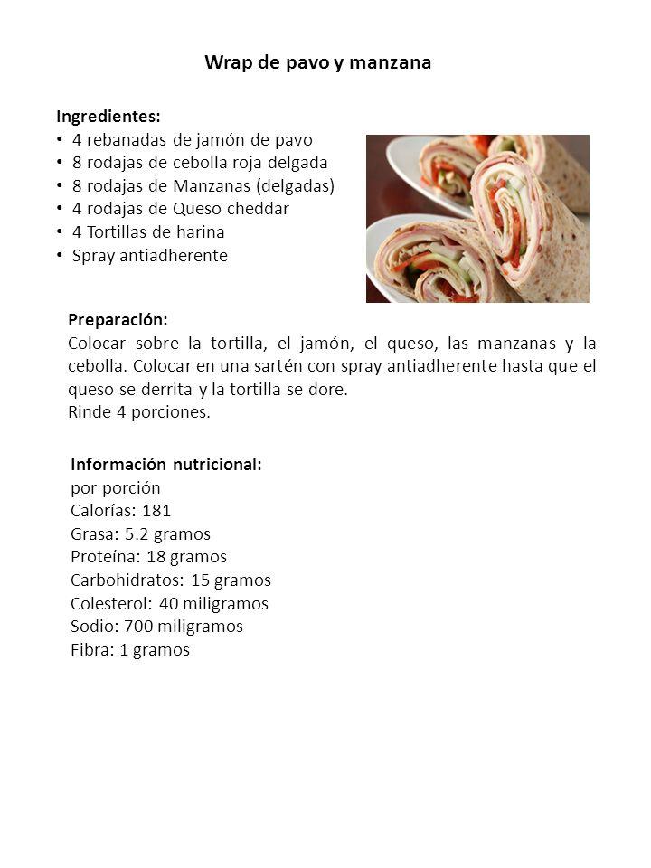 Wrap de pavo y manzana Ingredientes: 4 rebanadas de jamón de pavo 8 rodajas de cebolla roja delgada 8 rodajas de Manzanas (delgadas) 4 rodajas de Ques