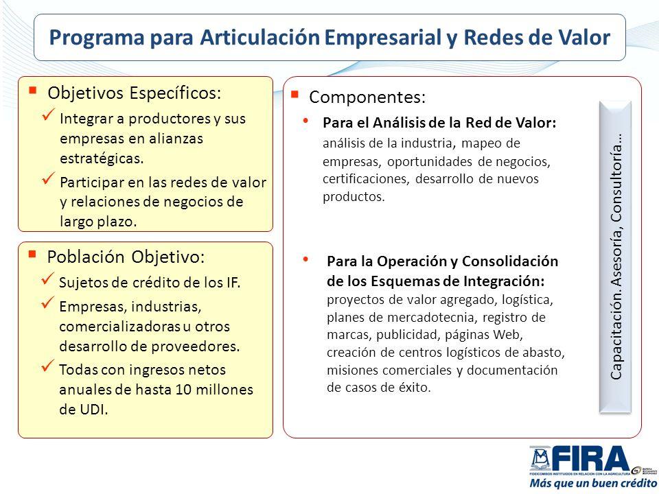 Objetivos Específicos: Integrar a productores y sus empresas en alianzas estratégicas. Participar en las redes de valor y relaciones de negocios de la