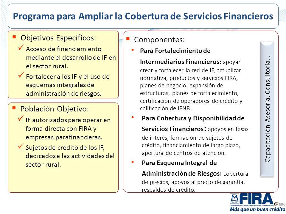 Objetivos Específicos: Acceso de financiamiento mediante el desarrollo de IF en el sector rural. Fortalecer a los IF y el uso de esquemas integrales d