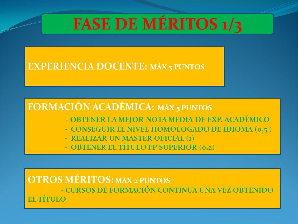 EXPERIENCIA DOCENTE: MÁX 5 PUNTOS FASE DE MÉRITOS 1/3 FORMACIÓN ACADÉMICA: MÁX 5 PUNTOS - OBTENER LA MEJOR NOTA MEDIA DE EXP. ACADÉMICO - CONSEGUIR EL