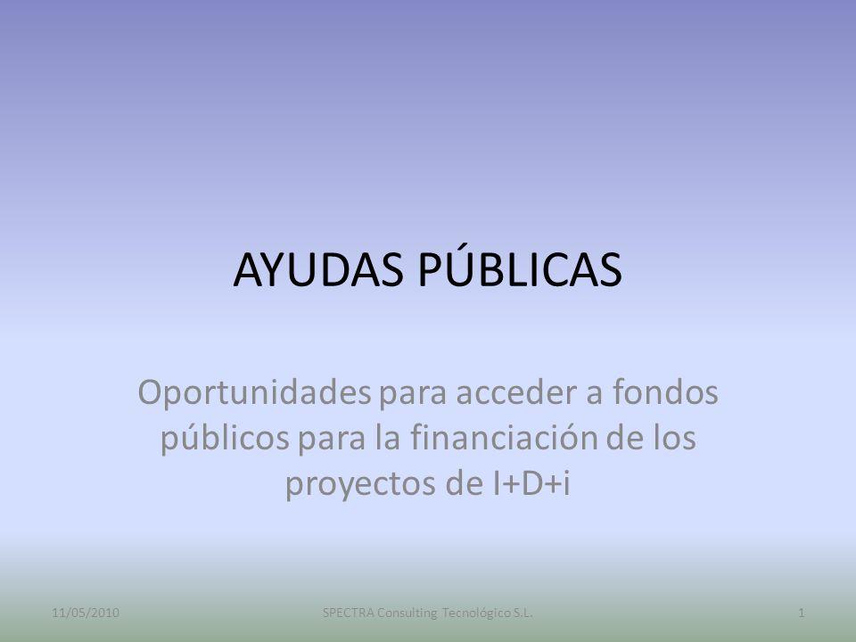 AYUDAS PÚBLICAS Oportunidades para acceder a fondos públicos para la financiación de los proyectos de I+D+i 11/05/2010SPECTRA Consulting Tecnológico S
