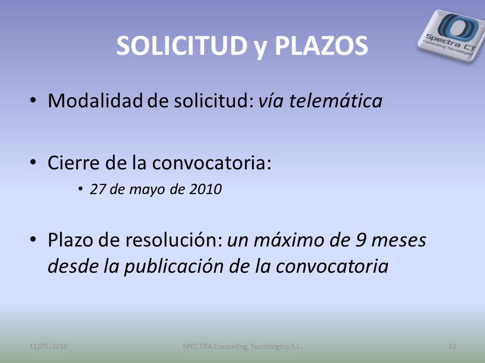 SOLICITUD y PLAZOS Modalidad de solicitud: vía telemática Cierre de la convocatoria: 27 de mayo de 2010 Plazo de resolución: un máximo de 9 meses desd