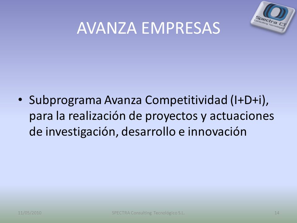 AVANZA EMPRESAS Subprograma Avanza Competitividad (I+D+i), para la realización de proyectos y actuaciones de investigación, desarrollo e innovación 11/05/201014SPECTRA Consulting Tecnológico S.L.