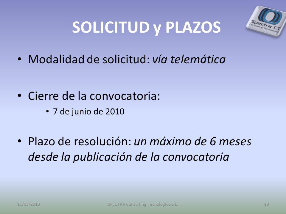SOLICITUD y PLAZOS Modalidad de solicitud: vía telemática Cierre de la convocatoria: 7 de junio de 2010 Plazo de resolución: un máximo de 6 meses desd