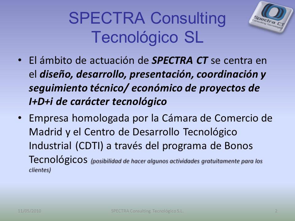SPECTRA Consulting Tecnológico SL El ámbito de actuación de SPECTRA CT se centra en el diseño, desarrollo, presentación, coordinación y seguimiento técnico/ económico de proyectos de I+D+i de carácter tecnológico (posibilidad de hacer algunos actividades gratuitamente para los clientes) Empresa homologada por la Cámara de Comercio de Madrid y el Centro de Desarrollo Tecnológico Industrial (CDTI) a través del programa de Bonos Tecnológicos (posibilidad de hacer algunos actividades gratuitamente para los clientes) 11/05/20102SPECTRA Consulting Tecnológico S.L.