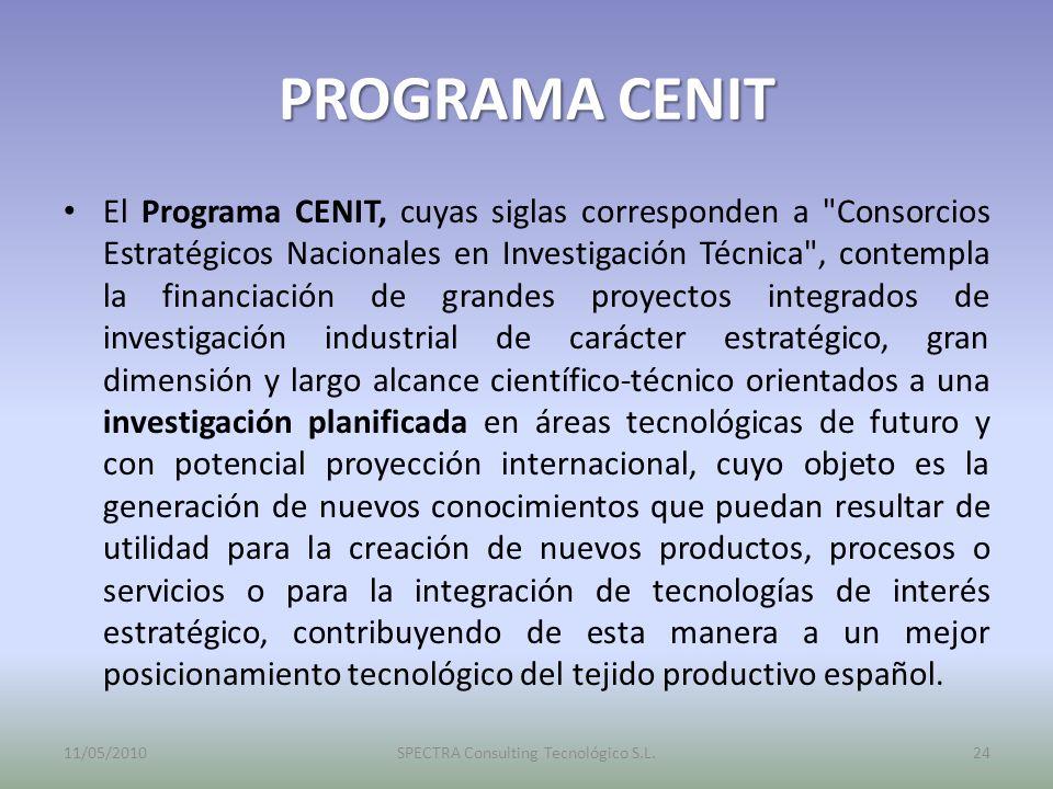 PROGRAMA CENIT El Programa CENIT, cuyas siglas corresponden a Consorcios Estratégicos Nacionales en Investigación Técnica , contempla la financiación de grandes proyectos integrados de investigación industrial de carácter estratégico, gran dimensión y largo alcance científico-técnico orientados a una investigación planificada en áreas tecnológicas de futuro y con potencial proyección internacional, cuyo objeto es la generación de nuevos conocimientos que puedan resultar de utilidad para la creación de nuevos productos, procesos o servicios o para la integración de tecnologías de interés estratégico, contribuyendo de esta manera a un mejor posicionamiento tecnológico del tejido productivo español.