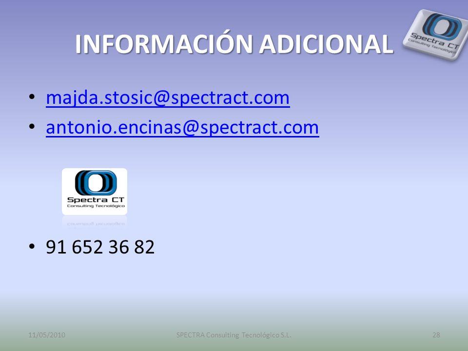 INFORMACIÓN ADICIONAL majda.stosic@spectract.com antonio.encinas@spectract.com 91 652 36 82 11/05/201028SPECTRA Consulting Tecnológico S.L.