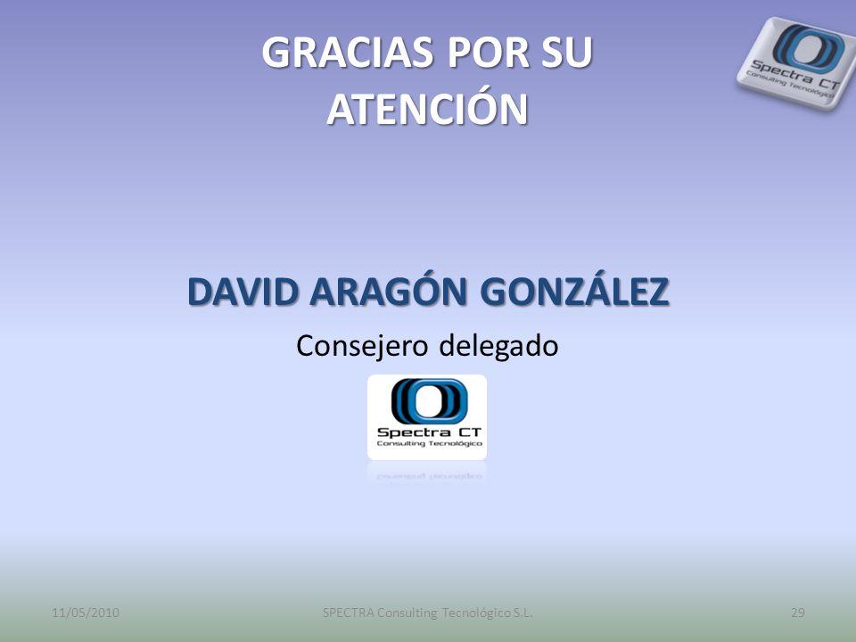 GRACIAS POR SU ATENCIÓN DAVID ARAGÓN GONZÁLEZ Consejero delegado 11/05/2010SPECTRA Consulting Tecnológico S.L.29