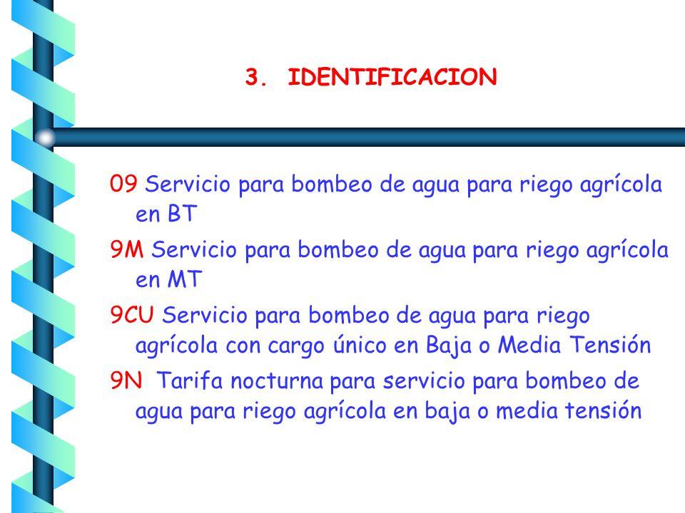 3. IDENTIFICACION 02 Servicio General hasta 25 kW de demanda 03 Servicio general para más de 25 kW de demanda 5 y 5A Servicio para alumbrado público 0