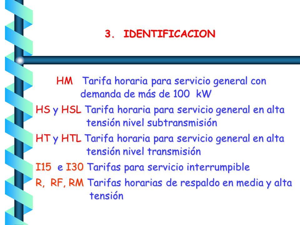 3. IDENTIFICACION 09 Servicio para bombeo de agua para riego agrícola en BT 9M Servicio para bombeo de agua para riego agrícola en MT 9CU Servicio par