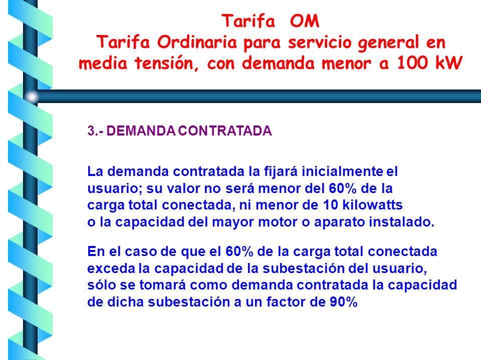 Esta tarifa se aplicará a los servicios que destinen la energía a cualquier uso, suministrados en media tensión, con una demanda menor a 100 kW. 1.APL