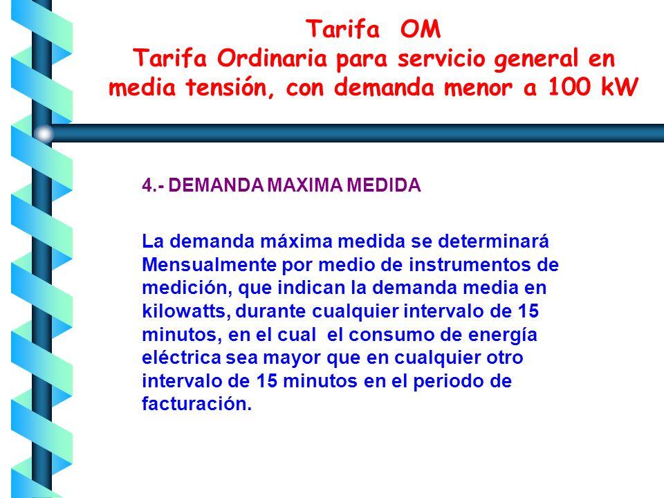 3.- DEMANDA CONTRATADA La demanda contratada la fijará inicialmente el usuario; su valor no será menor del 60% de la carga total conectada, ni menor d