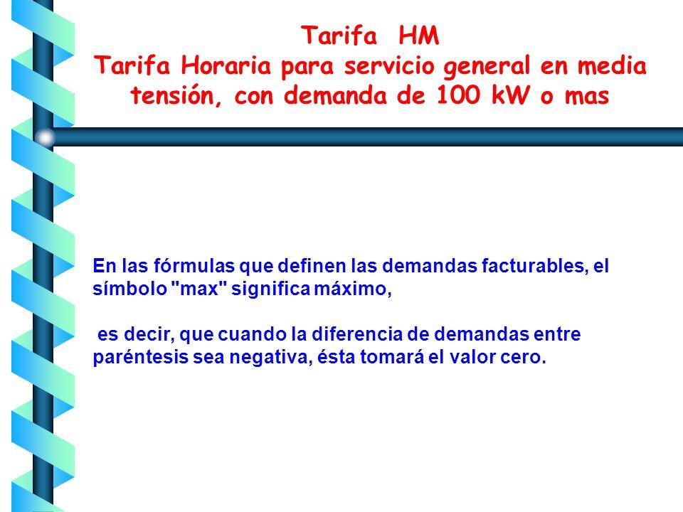 Tarifa HM Tarifa Horaria para servicio general en media tensión, con demanda de 100 kW o mas 6.- DEMANDA FACTURABLE La demanda facturable se define co