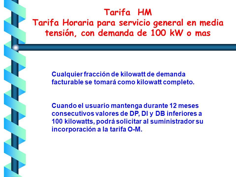 Tarifa HM Tarifa Horaria para servicio general en media tensión, con demanda de 100 kW o mas Las demandas máximas medidas en los distintos periodos se