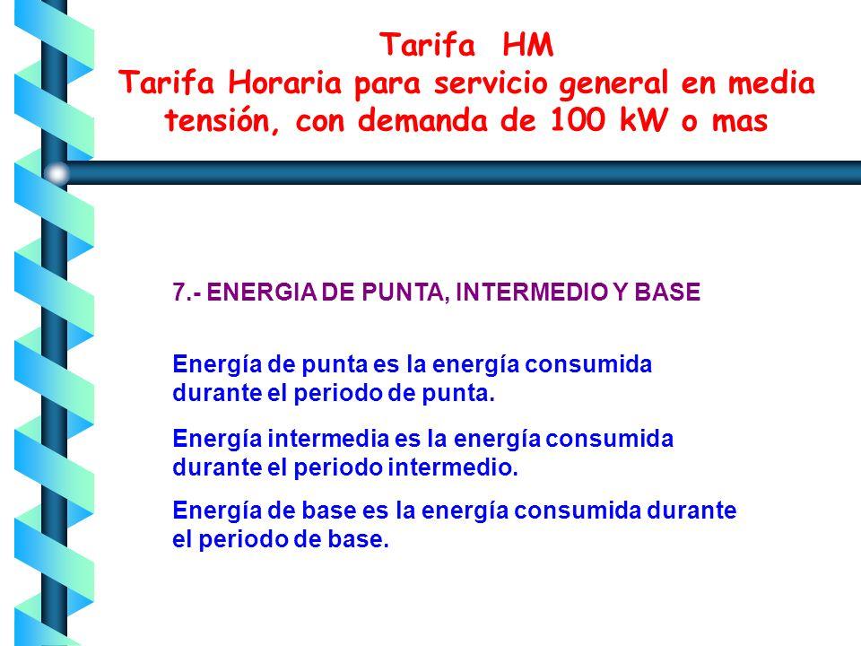 Tarifa HM Tarifa Horaria para servicio general en media tensión, con demanda de 100 kW o mas Cualquier fracción de kilowatt de demanda facturable se t