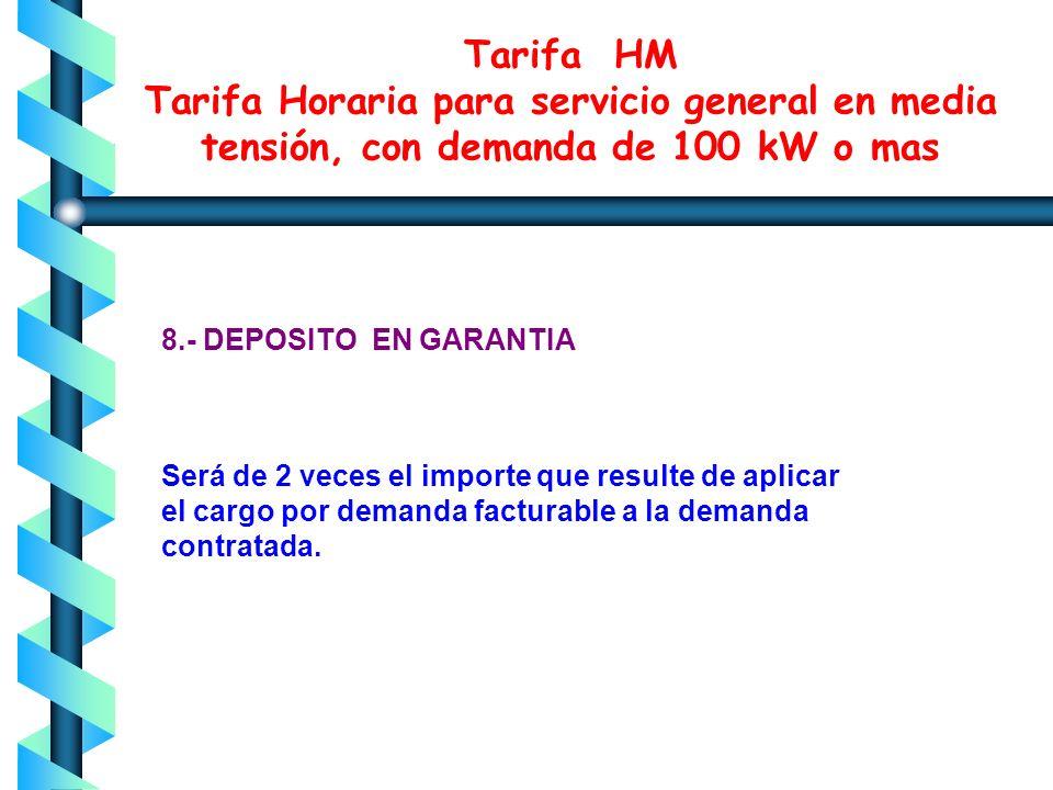 Tarifa HM Tarifa Horaria para servicio general en media tensión, con demanda de 100 kW o mas 7.- ENERGIA DE PUNTA, INTERMEDIO Y BASE Energía de punta
