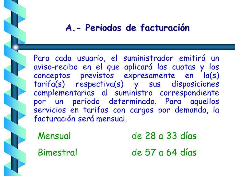 A.- Periodo de consumo B.- Cuotas aplicables ($) a) Cargo por energía (kWh) b) Cargo por demanda (kW) c) Cargo fijo C.- Cargo por medición en el lado