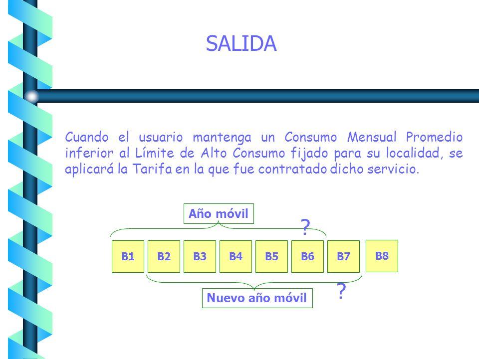 ENTRADA Si un servicio se encuentra en tarifa doméstica normal y al momento de facturar, su CMP sobrepasa el límite establecido para la tarifa, la fac