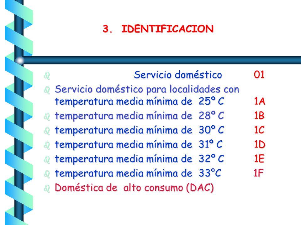 b Servicio doméstico01 b Servicio doméstico para localidades con temperatura media mínima de 25º C 1A b temperatura media mínima de 28º C 1B b temperatura media mínima de 30º C 1C b temperatura media mínima de 31º C 1D b temperatura media mínima de 32º C 1E b temperatura media mínima de 33°C 1F b Doméstica de alto consumo (DAC)
