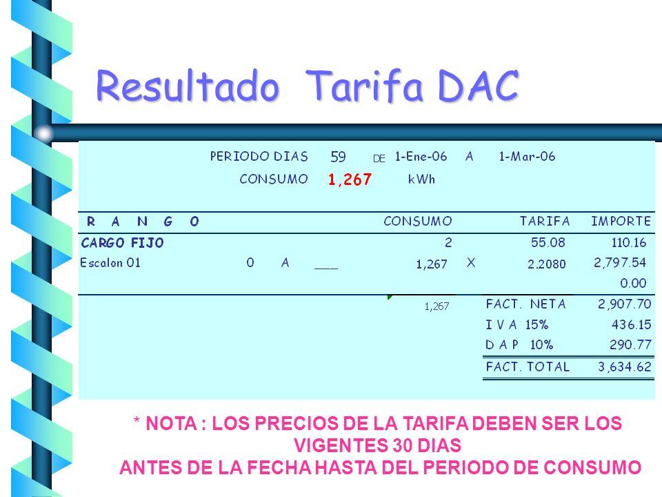 Ejercicio Tarifa DAC * NOTA : LOS PRECIOS DE LA TARIFA DEBEN SER LOS VIGENTES 30 DIAS ANTES DE LA FECHA HASTA DEL PERIODO DE CONSUMO