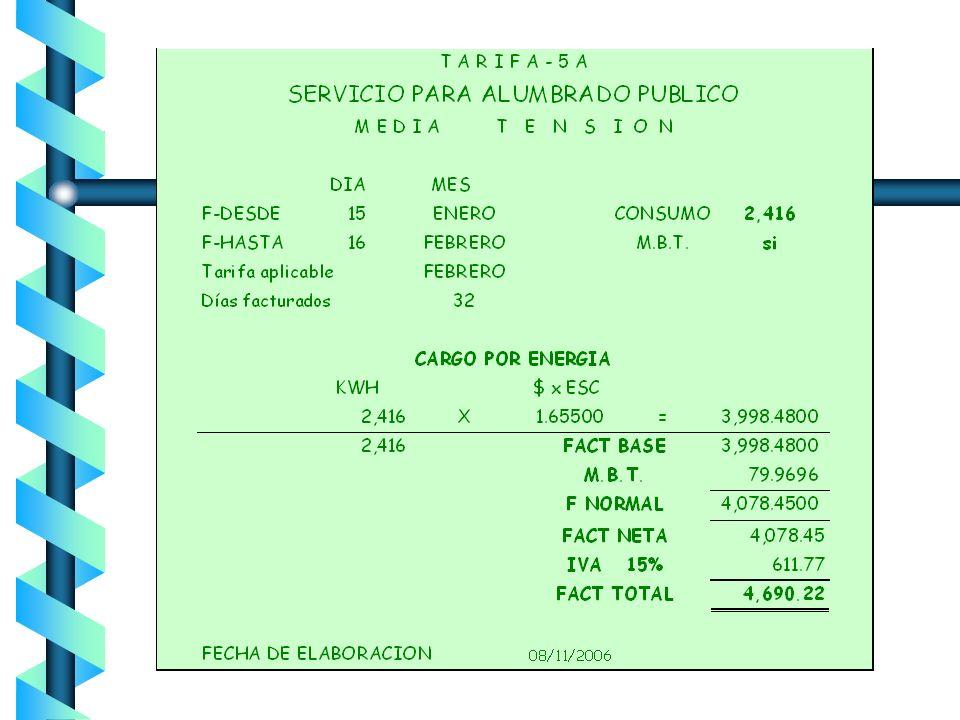 T- 05 y 5A Servicio para Alumbrado Público Demanda 100 % de la carga conectada Suministrado en baja y media tensión Cargo:energía para baja tensión en
