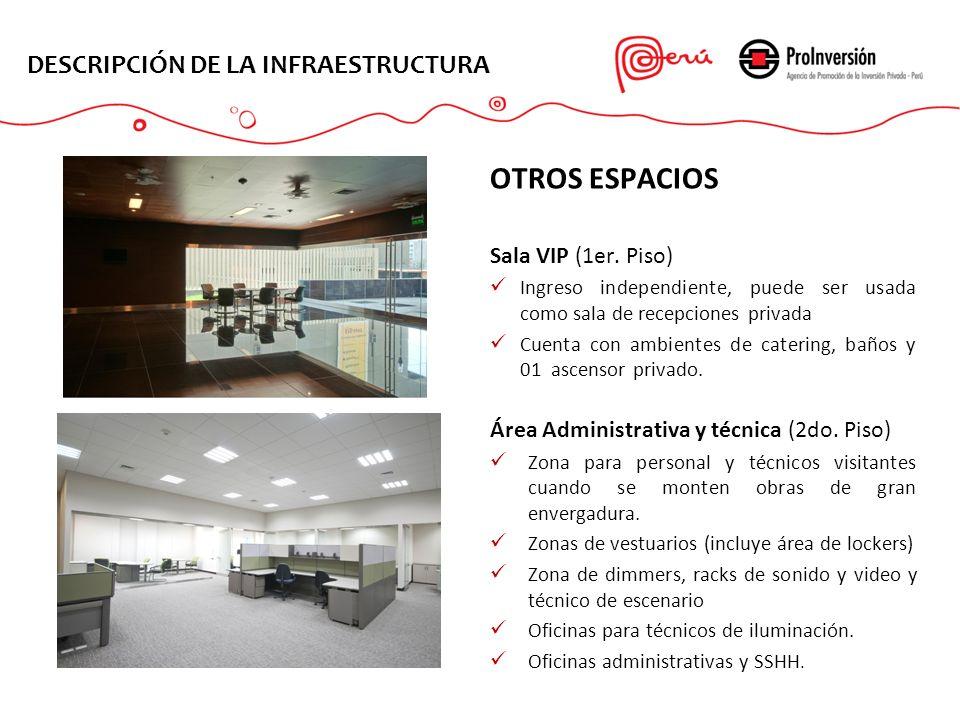 OTROS ESPACIOS Sala VIP (1er. Piso) Ingreso independiente, puede ser usada como sala de recepciones privada Cuenta con ambientes de catering, baños y