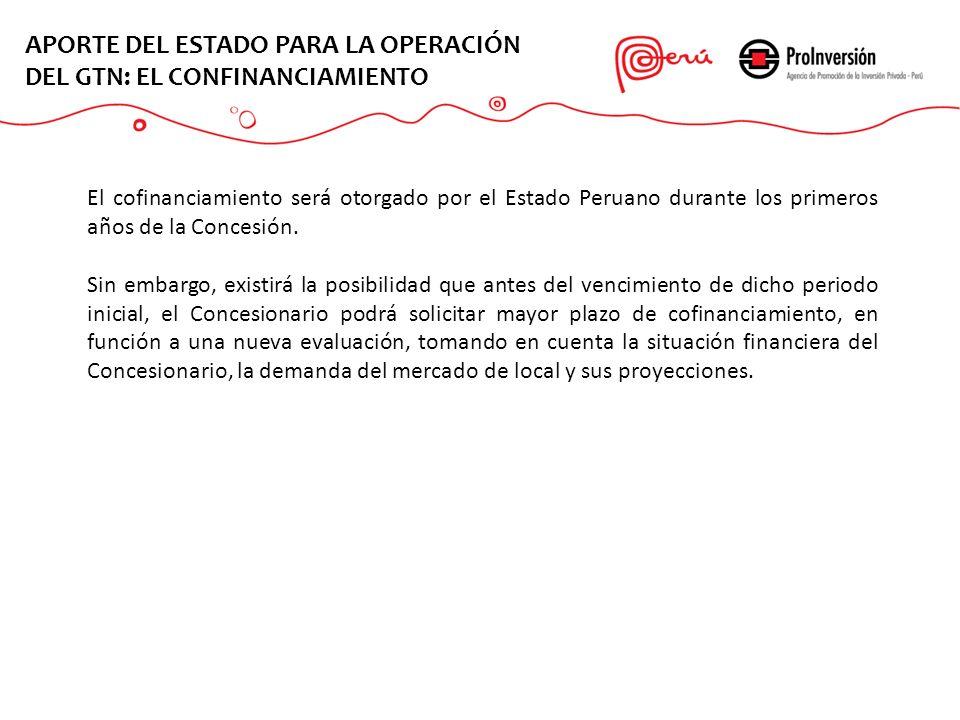 APORTE DEL ESTADO PARA LA OPERACIÓN DEL GTN: EL CONFINANCIAMIENTO El cofinanciamiento será otorgado por el Estado Peruano durante los primeros años de